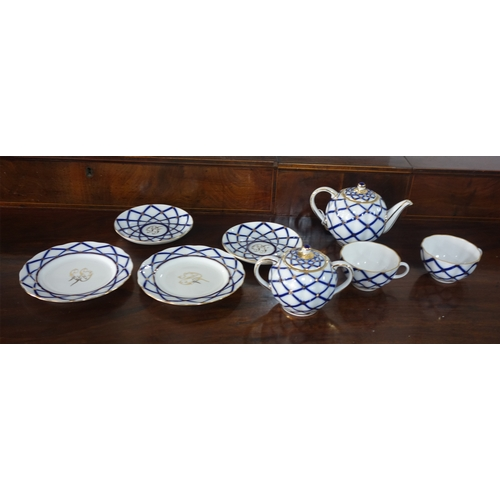 45 - A Russian Lomonosov Imperial porcelain tea set for two...