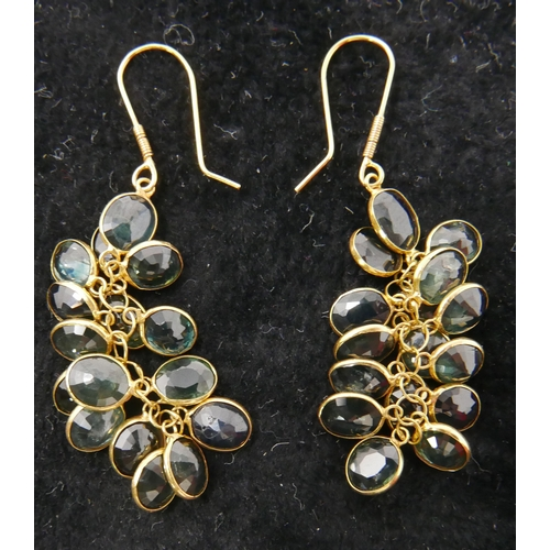 47 - A pair of 14ct yellow gold and faceted sapphire grape-cluster earrings, each earring composed of 16 ...