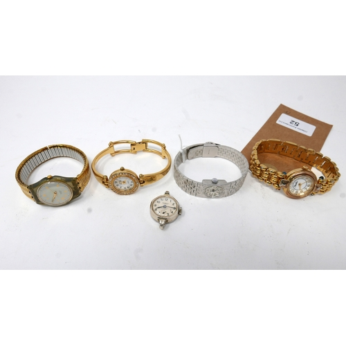52 - Collection of gilt/white metal vintage wristwatches: Anne Klein, Carolee, Swatch, Ingersol and Cheva...
