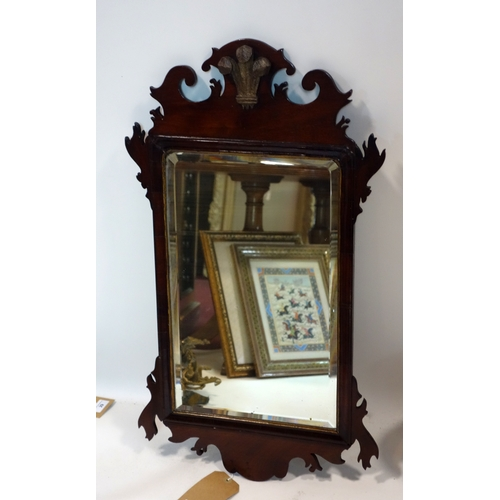 327 - A Georgian mahogany fret work mirror with bevelled plate, 74 x 42cm...