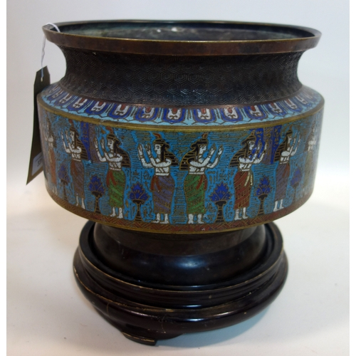331 - A Chinese bronze and cloisonne enamel vase, decorated with a continuous procession of Egyptian style...