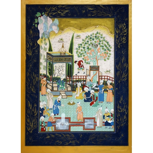 372 - A Persian painted textile, depicting noblemen in courtyard scene, with gilt floral border on blue gr...