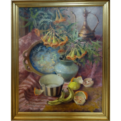382 - Hello Welly, still life of flowers and fruit, oil on canvas, signed to lower left, 79 x 59cm...