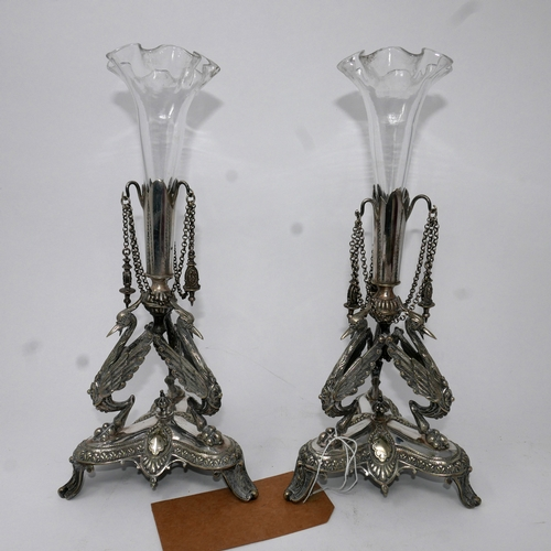 395 - A pair of 19th century continental silver plate epergne's, marked to base, H.30cm...