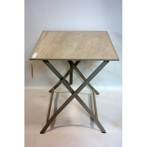 398 - A pair of folding table with tile tops, H.74 W.63 D.63cm...