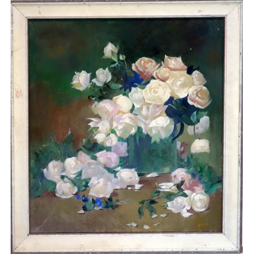 399 - A still life of roses in a jug, signed Monk or Mark, oil on canvas, 60 x 52cm...