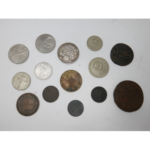 401 - A collection of fourteen 18th and 19th century Russian coins (14)...