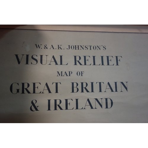 407 - A vintage scroll map, a visual relief map of Great Britain & Ireland, by W.&A.K. Johnston's, 130 x 1...