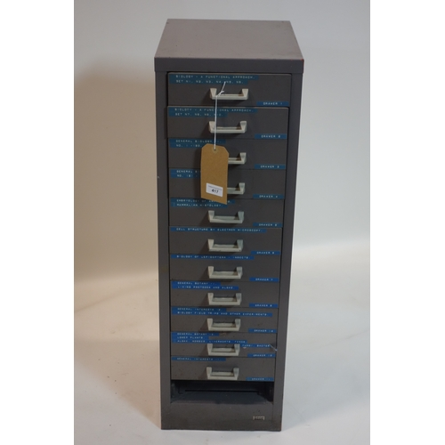 417 - A large collection of biological microscope slides in steel filling cabinet, H.90 W.29 D.39cm...