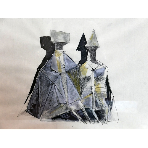 144 - A  pen, ink and gouache study of male and female figures with square and triangle heads, with 1975 w...