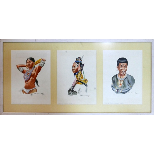 405 - A triptych of Myanmar ethnic groups, all framed as one, depicting a 'Naga Woman', a 'Padanng Woman (...