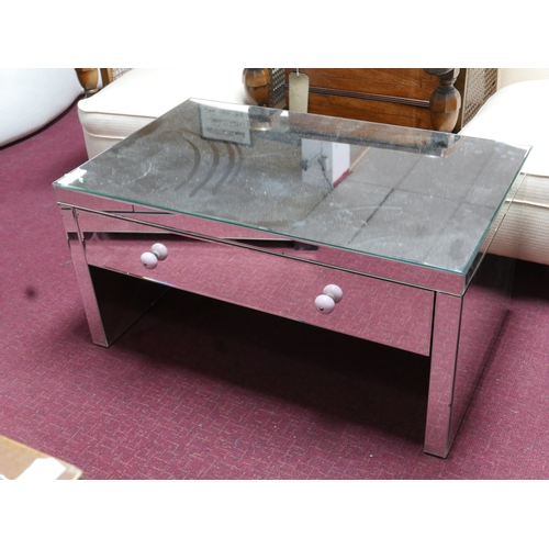 326 - A contemporary mirrored coffee table with single drawer, H.45 W.90 D.55cm...