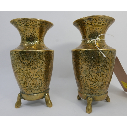 138 - A pair of early 20th century Middle Eastern brass vases, H.17cm...