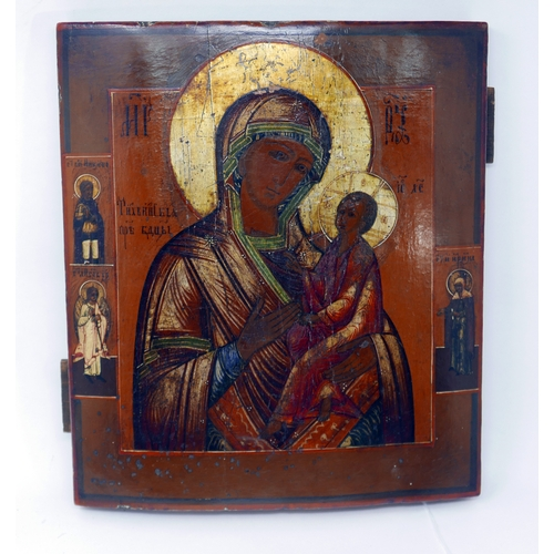 10 - A Russian icon of the Mother of God of Tikhvin, tempera on wood panel, parcel gilded, 30 x 27cm...