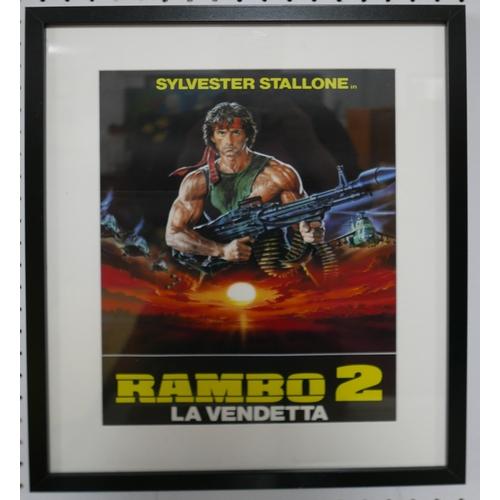 155 - A framed Italian movie poster for 'Rambo 2 - La Vendetta', 39 x 29cm...