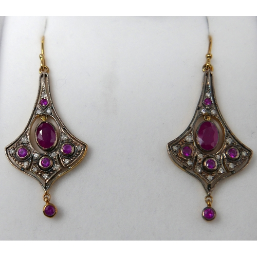 5 - A pair of boxed yellow gold, ruby and diamond drop earrings, L: 4.5cm, 4.8g....