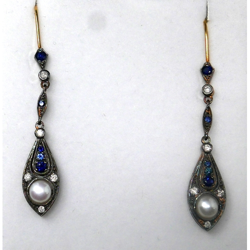 7 - A boxed pair of yellow gold, diamond, sapphire and pearl drop earrings, L: 5cm, 3.5g...