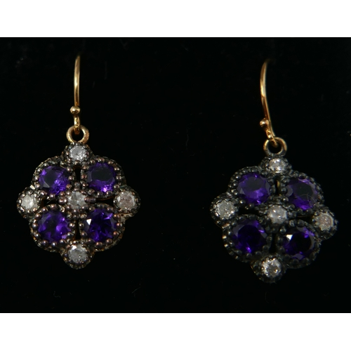 35 - A boxed pair of yellow gold, diamond and amethyst cluster drop earrings, each earring set with 5 dia...