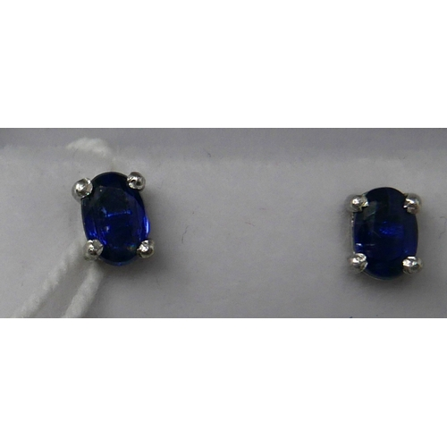 31 - A boxed pair of sterling silver and blue kyanite stud earrings, 5 x 4mm, 1.1g...