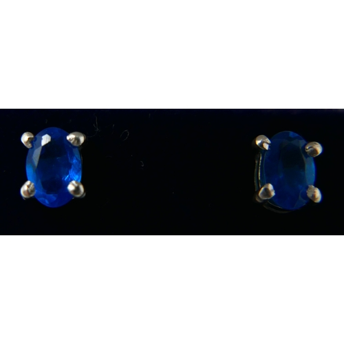 50 - A boxed pair of sterling silver and blue apatite stud earrings, 5 x 4mm, 1.1g...