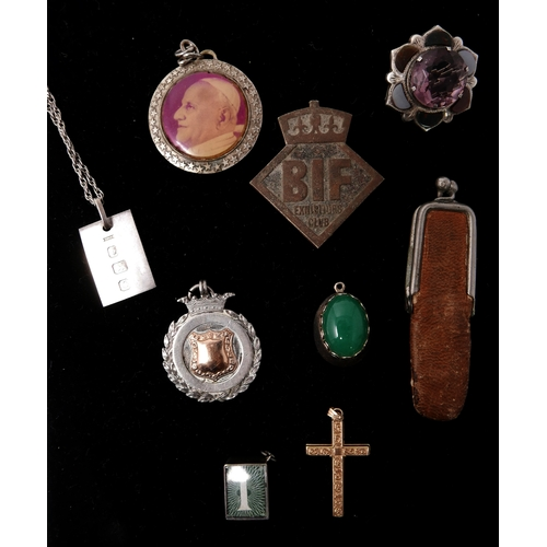 51 - A red box containing antique jewellery items to include a 9ct yellow gold cross pendant, 2g, an anti...