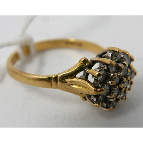 58 - An antique 18ct yellow gold and diamond cluster ring set with 20 brilliant-cut diamonds to carved sh...