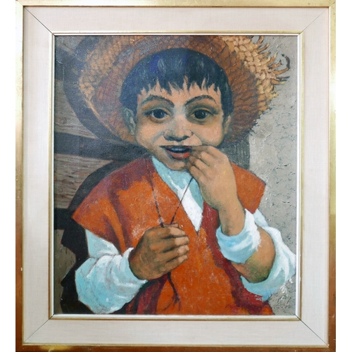 435 - Peter Barrett, 'Juanito', half-length portrait of a boy, oil on canvas, signed lower right, with tag...