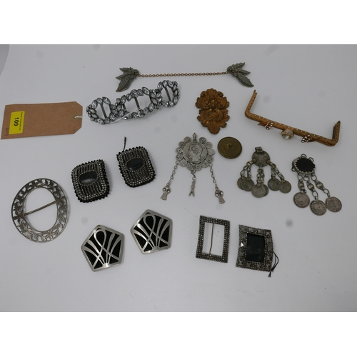 109 - A collection of antique and vintage items to include Georgian cut steel buckles, a diamante example ...