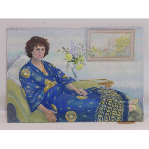 115 - An oil on canvas portrait of seated lady, 63 x 92cm...