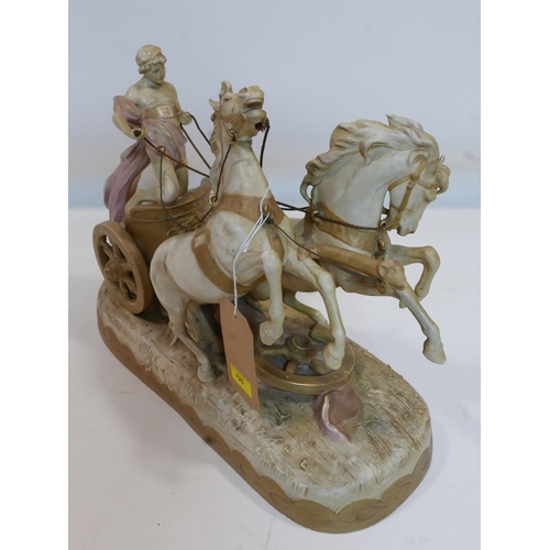 125 - A large Royal Dux porcelain group of chariot and horses, H.41 W.52 D.21cm...