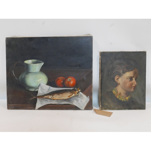 129 - Yves Hervochon, a still life of a fish, two apples and a jug, signed and dated 1959 to lower left, o...