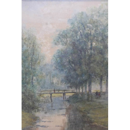 142 - 20th century Continental school, Bridge over a River, watercolour, unsigned, framed and glazed, 35 x...