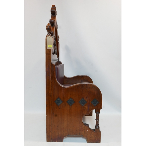 272 - A carved pine Judaic throne chair...