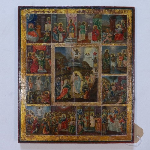 33 - A large Russian icon of the Descent and Resurrection of Christ and Feasts, tempera on wood panel, pa...