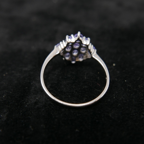 47 - A boxed 9ct white gold marquise-shaped ring set with diamonds and tanzantites, Size: W 1/2, 3g....