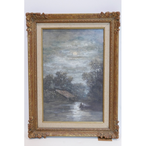 63 - Early 20th century Continental school, Riverscape in Moonlight, watercolour, unsigned, framed
