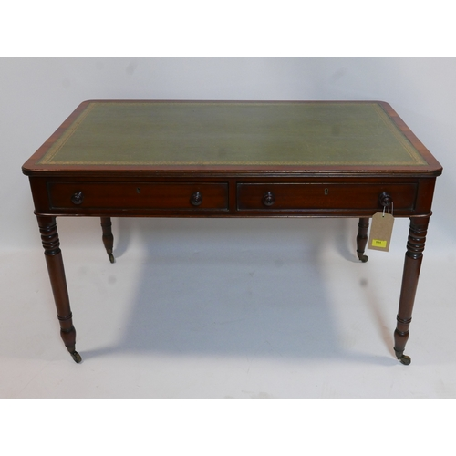 191 - A late 19th century mahogany library table with green leather skiver, two drawers and two faux, rais...