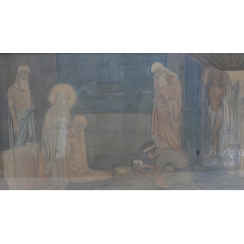 368 - An Arts & Crafts pencil and watercolour religious scene, signed Mary Cherrie Gough, 58 x 115cm...