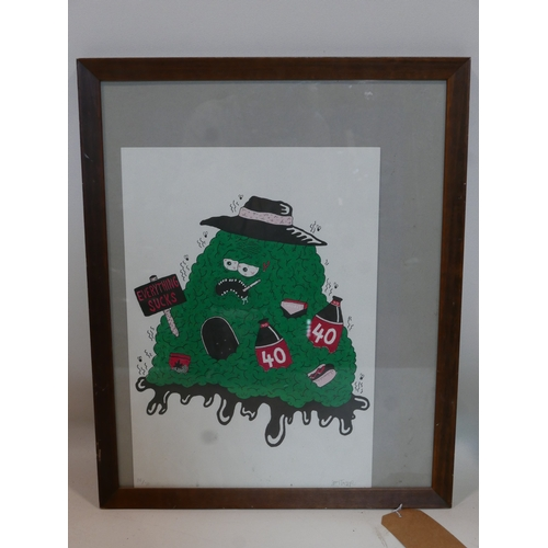 369 - A lithographic print of a monster holding sign 'Everything Sucks', signed lower right, numbered 26/3...