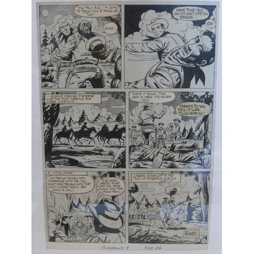 106 - Two framed pages of original comic book artwork from Gunhawks No.5, June 1973, pages 21 & 24, by Syd...