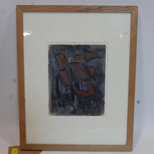 111 - A framed and glazed pastel study of red brick village rooftops, H: 25cm, W: 20cm, Unsigned....