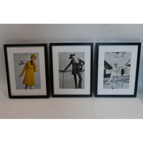 124 - Three original Twiggy fashion tear sheets, in black frames, 28 x 20cm...