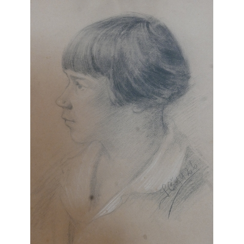 181 - An early 20th century pencil portrait sketch, signed and dated 1926, 42 x 33cm...