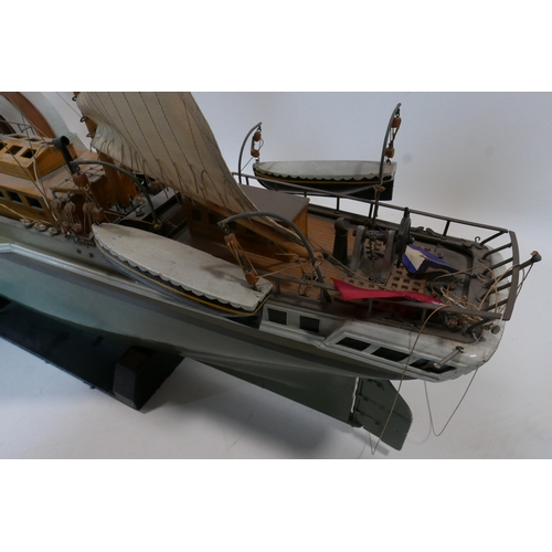 317 - A large 1920's scratch built model of a paddle steamer 'orion', H.116 W.162 D.42cm...