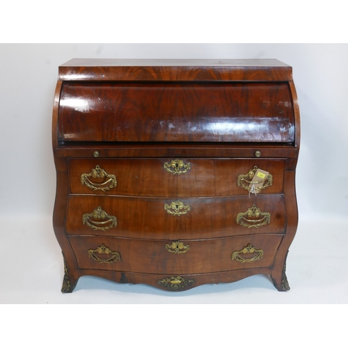 351 - An 18th century Dutch walnut bombe roll top bureau, H.113 W.114 D.60cm...