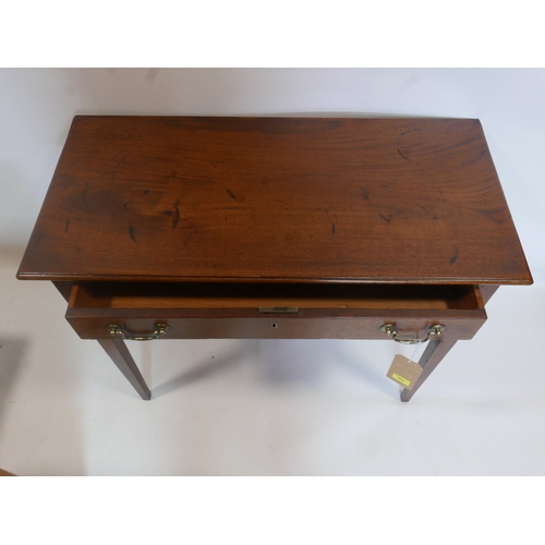 352 - A Georgian inlaid mahogany side table with single drawer, raised on tapered legs, H.74 W.92 D.44cm...