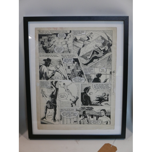 75 - An original comic book artwork of Tarzan from TV Tornado No.21, page 9, 1967, in black frame, 44 x 3...