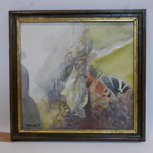 95 - B. Hager, oil on canvas of marine life, with Cyrillic translation to verso, H: 50cm, W: 50cm.