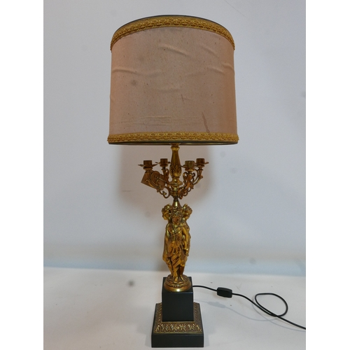 144 - A French gilt bronze figural candelabra table lamp, H.92cm...