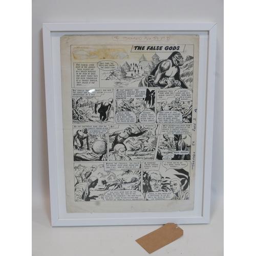 370 - An original comic book artwork of Tarzan from TV Tornado No.59, page 3, 1968, 46 x 34cm...